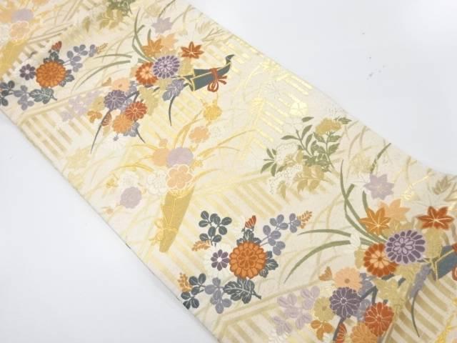 花熨斗模様織出し袋帯【リサイクル】【中古】【着】 宗sou