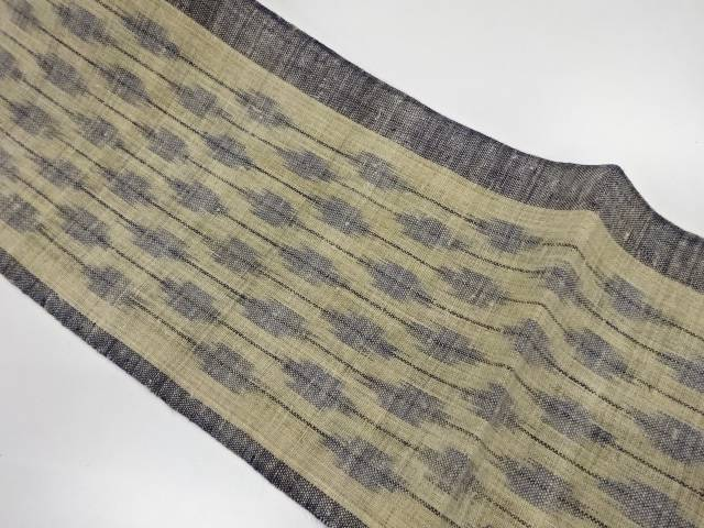 未使用品 本場宮古上布 縞に抽象模様織出し名古屋帯【リサイクル】【着】 宗sou