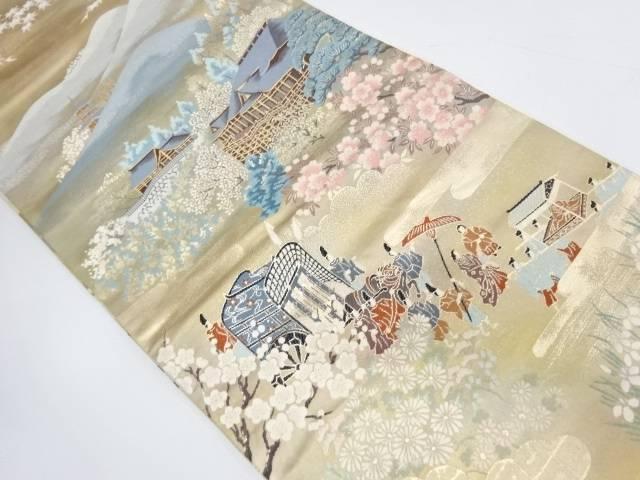 引箔清水寺に大名行列模様織出し袋帯【リサイクル】【中古】【着】 宗sou