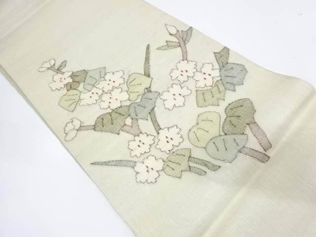 枝花模様織出し袋帯【リサイクル】【中古】【着】 宗sou