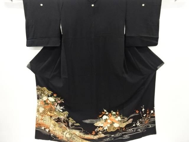花車に幕・扇模様刺繍留袖(比翼付き)【リサイクル】【中古】【着】 宗sou