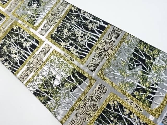 金銀糸色紙に木立模様織出し袋帯【リサイクル】【中古】【着】 宗sou