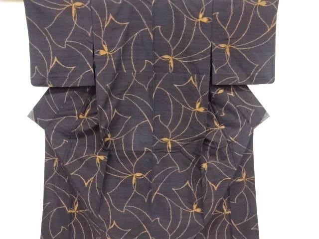 花模様織り出し手織り真綿紬単衣着物【リサイクル】【中古】【着】 宗sou