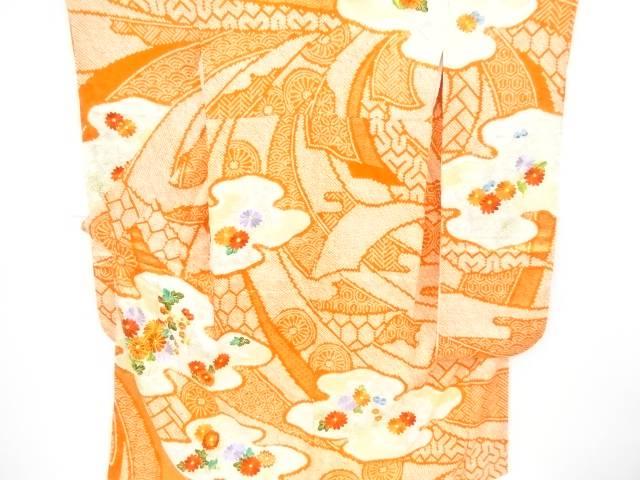 絞り菊模様刺繍振袖【リサイクル】【中古】【着】 宗sou