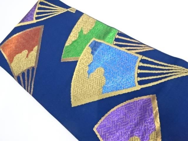 扇子模様織出し袋帯【リサイクル】【中古】【着】 宗sou