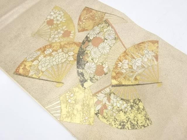 螺鈿扇に草花模様袋帯【リサイクル】【中古】【着】 宗sou