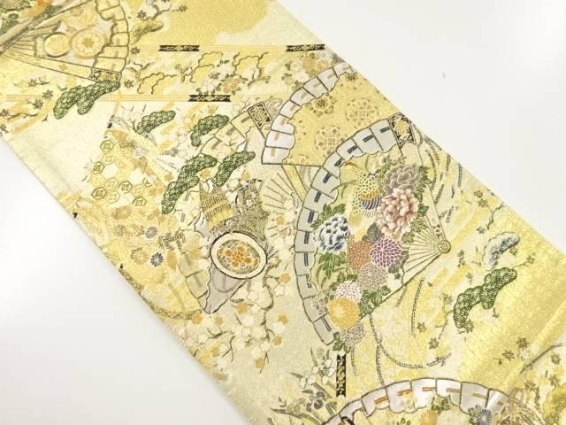金糸桧扇に和楽器・花鳥模様織り出し袋帯【リサイクル】【中古】【着】 宗sou
