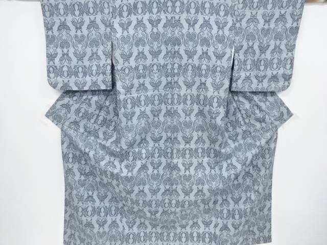 宗sou 蝶に花模様手織り節紬着物【リサイクル】【中古】【着】