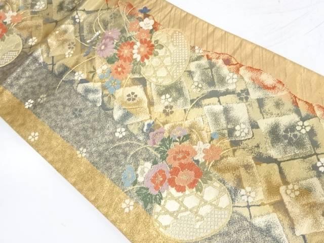 花籠模様織出し全通袋帯【リサイクル】【中古】【着】 宗sou
