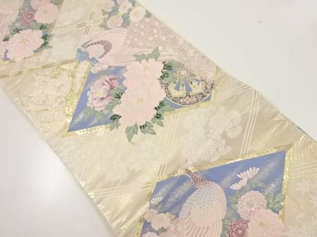 本金孔雀に牡丹模様織り出し袋帯【リサイクル】【中古】【着】 宗sou