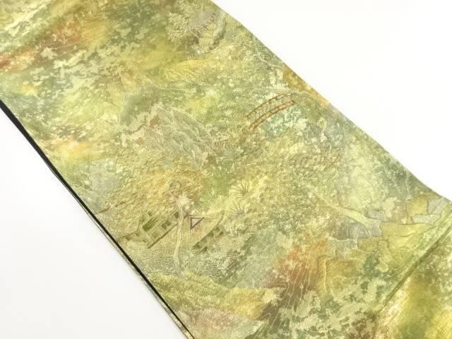 金糸寺院風景模様織り出し袋帯【リサイクル】【中古】【着】 宗sou