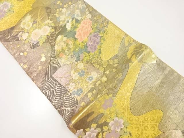 本金霞取りに草花模様織り出し袋帯【リサイクル】【中古】【着】 宗sou
