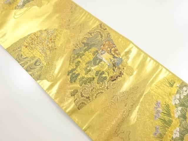 本金箔桧扇に時代人物・松・梅模様織り出し袋帯【リサイクル】【中古】【着】 宗sou