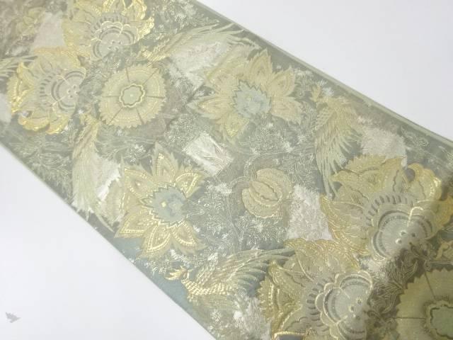 純金二重箔24K花鳥模様織出し袋帯【リサイクル】【中古】【着】 宗sou