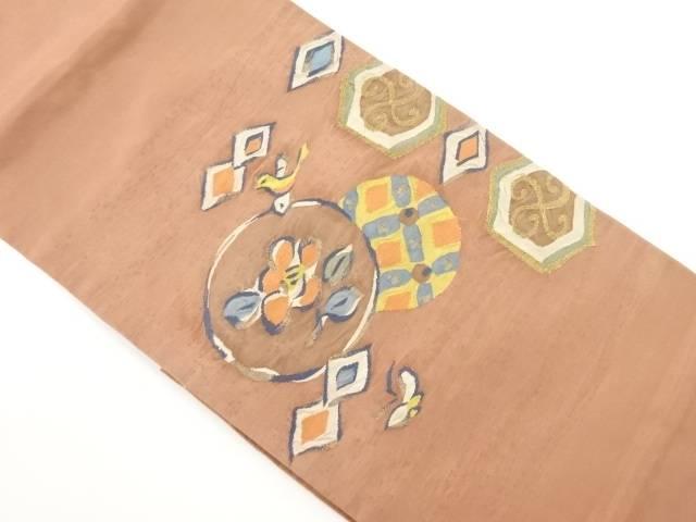 明綴れ丸紋に花鳥模様織り出し袋帯【リサイクル】【中古】【着】 宗sou
