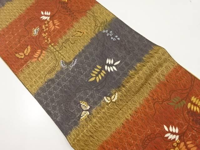 すくい織藤に蝶模様織り出し袋帯【リサイクル】【中古】【着】 宗sou