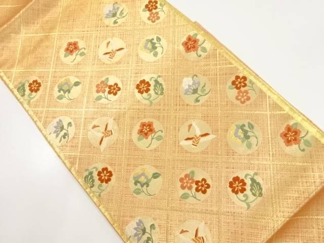金糸斜め格子に花鳥模様織り出し袋帯【リサイクル】【中古】【着】 宗sou