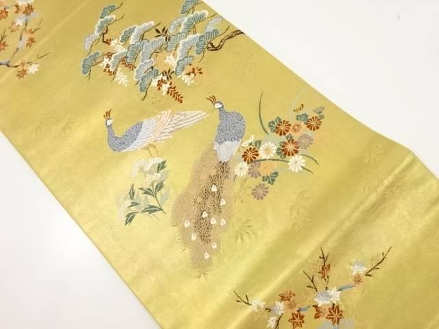 松・藤に孔雀模様織り出し袋帯【リサイクル】【中古】【着】 宗sou
