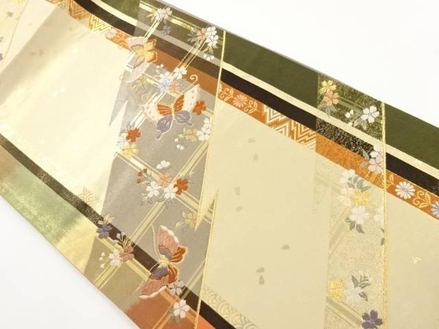 本金桜に蝶模様織り出し全通袋帯【リサイクル】【中古】【着】 宗sou
