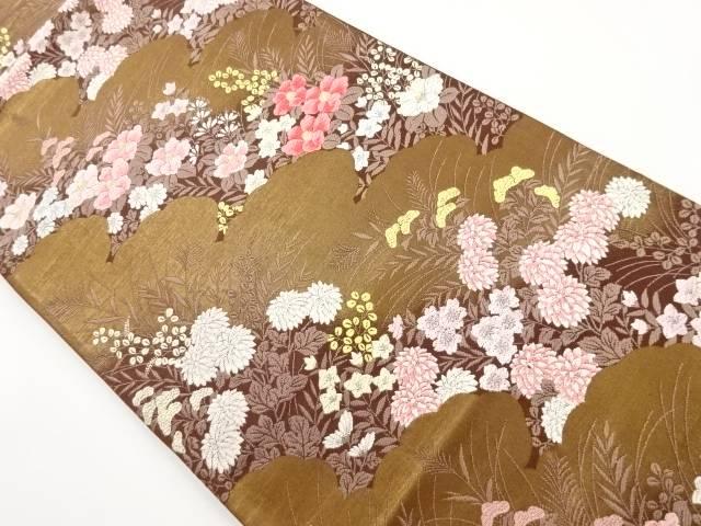 本金雲に秋草模様織り出し袋帯【リサイクル】【中古】【着】 宗sou