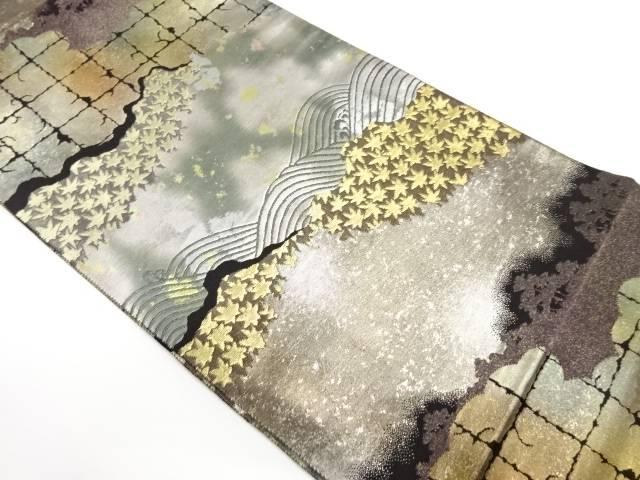 引箔荒波に楓模様織出し袋帯【リサイクル】【中古】【着】 宗sou