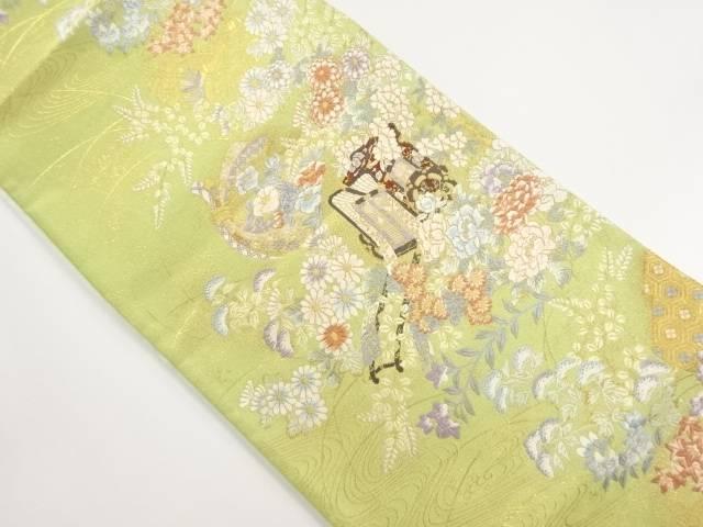 金糸御所車に花模様織り出し袋帯【リサイクル】【中古】【着】 宗sou