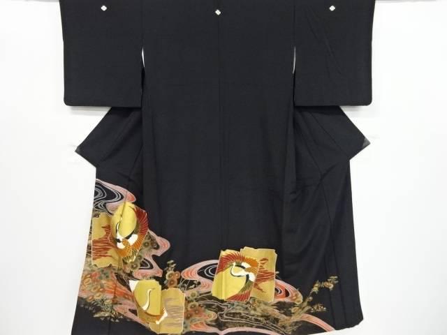 金彩破れ色紙に鶴菊模様留袖(比翼付き)【リサイクル】【中古】【着】 宗sou