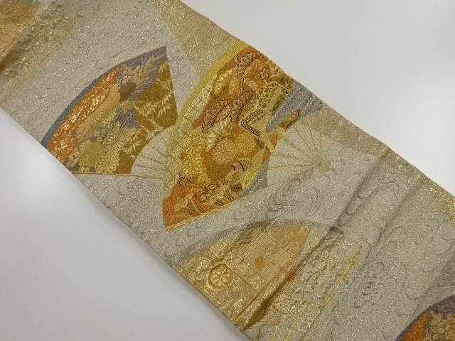 本金扇面に花御所車模様織出袋帯【リサイクル】【中古】【着】 宗sou