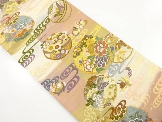 唐織観世水に鴛鴦・花丸紋織り出し袋帯【リサイクル】【中古】【着】 宗sou