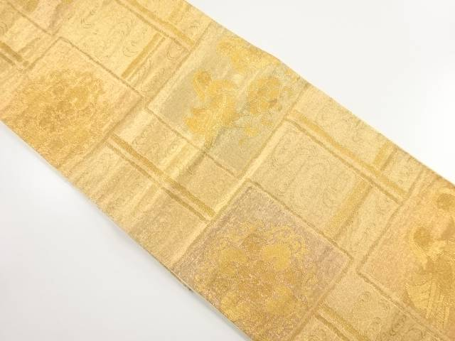 本金色紙に華紋・向かい鳥模様織り出し袋帯【リサイクル】【中古】【着】 宗sou