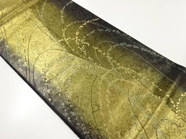 引箔草葉模様織り出し袋帯【リサイクル】【中古】【着】 宗sou