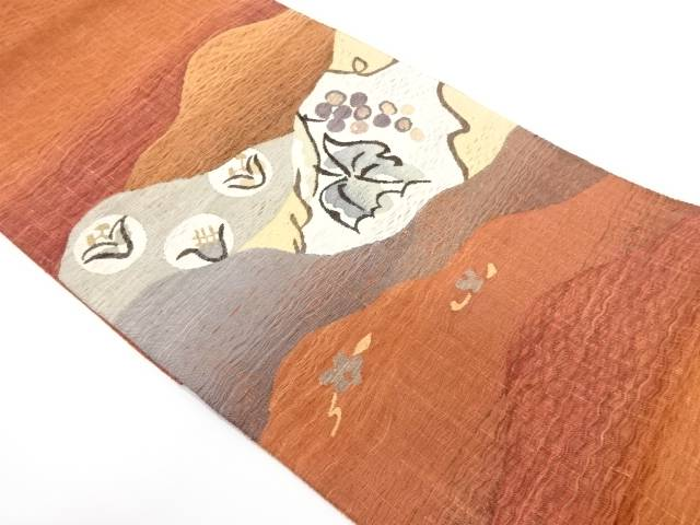すくい織霞に葡萄模様織出し袋帯【リサイクル】【中古】【着】 宗sou