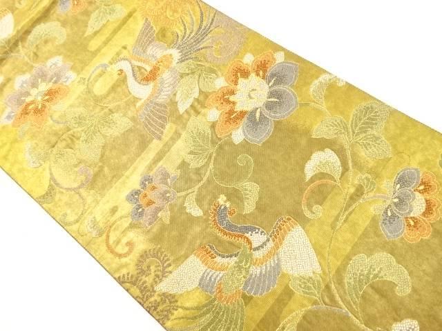 本金牡丹唐草に鳳凰模様織り出し袋帯【リサイクル】【中古】【着】 宗sou