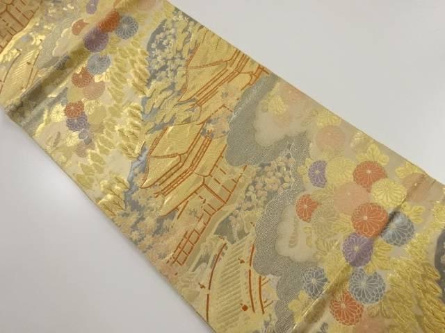 本金二丁箔寺院風景模様織り出し袋帯【リサイクル】【中古】【着】 宗sou