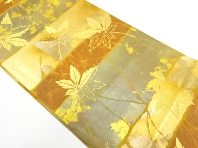 横段に楓模様織出し袋帯【リサイクル】【中古】【着】 宗sou