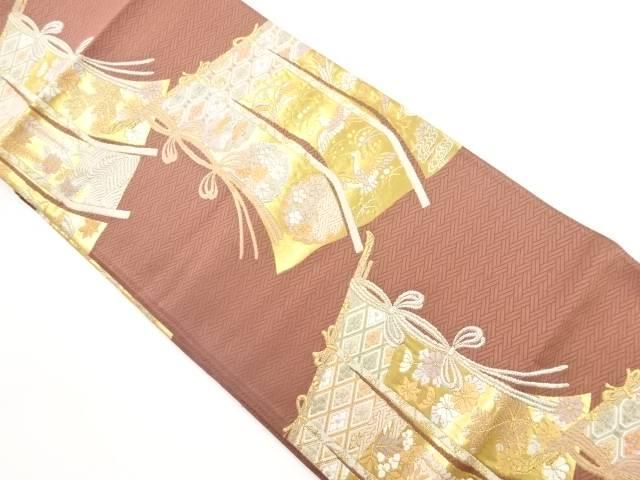 未使用品 金糸几帳に花鳥模様織り出し袋帯【リサイクル】【着】 宗sou