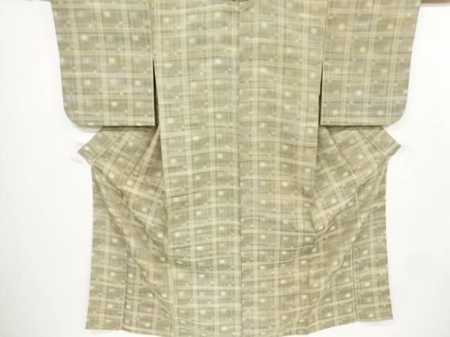 変わり格子に十字絣織出お召し単衣着物【リサイクル】【中古】【着】 宗sou
