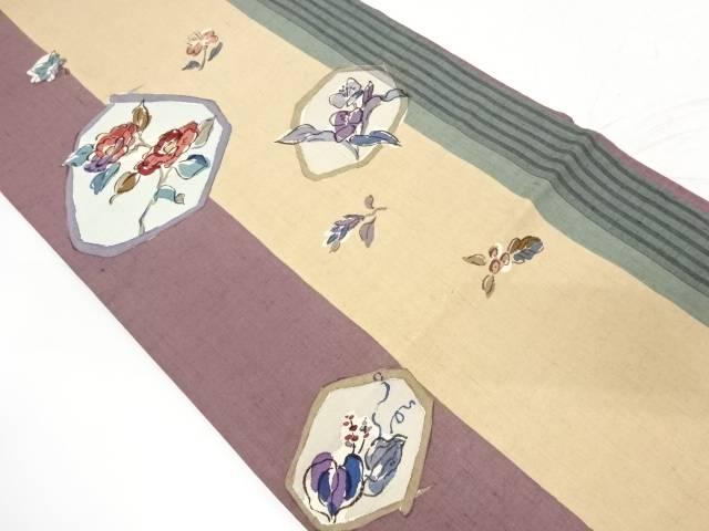 手織り紬椿に草花模様袋帯【リサイクル】【中古】【着】 宗sou