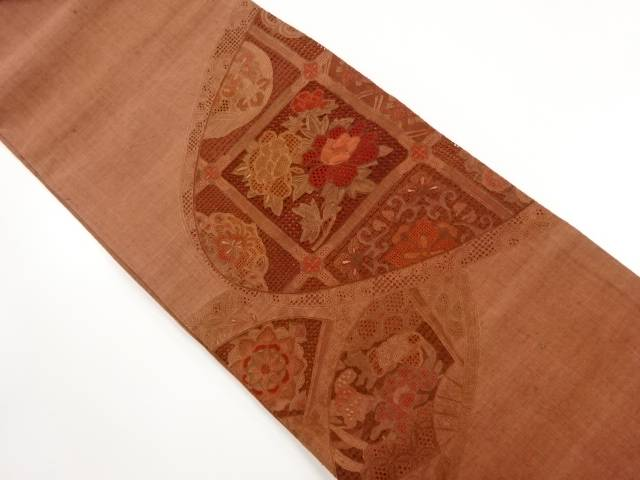 手織り節紬 汕頭蘇州刺繍 格天井に牡丹模様袋帯【リサイクル】【中古】【着】 宗sou