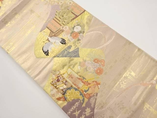 本金巻物に屋敷・鶴模様織り出し袋帯【リサイクル】【中古】【着】 宗sou