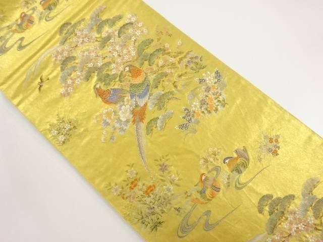 本金箔 松・桜に雉模様織り出し袋帯【リサイクル】【中古】【着】 宗sou