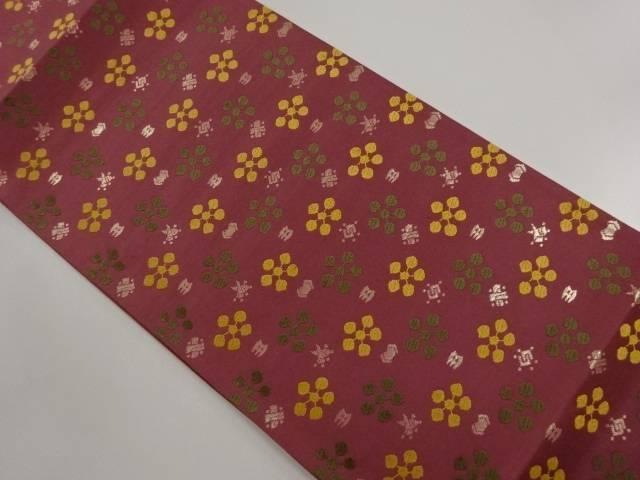 唐織梅鉢に宝尽くし模様織り出し袋帯【リサイクル】【中古】【着】 宗sou