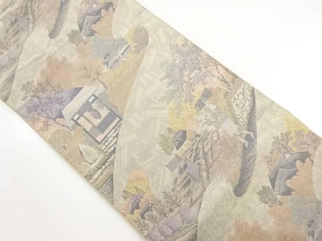 萬葉製 落柿舎模様織り出し全通袋帯【リサイクル】【中古】【着】 宗sou