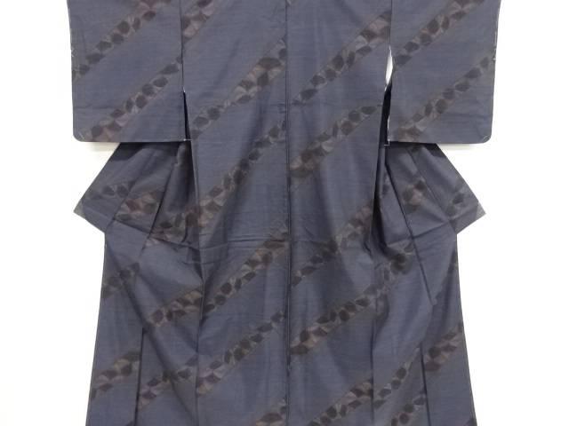 斜め縞模様織り出し本場泥大島紬着物【リサイクル】【中古】【着】 宗sou