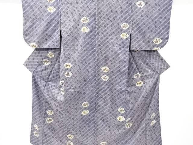 板締め絞り地紙に糸車・唐花模様手織り節紬着物【リサイクル】【中古】【着】 宗sou