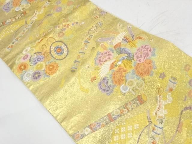 花鳥に古楽器模様織出し袋帯【リサイクル】【中古】【着】 宗sou