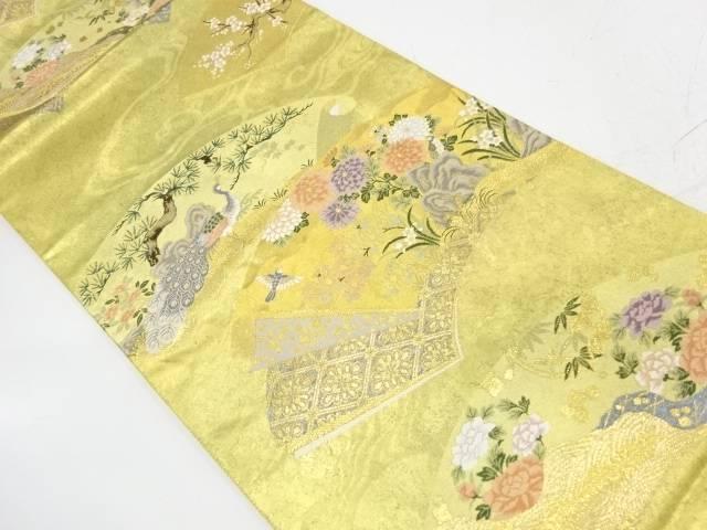 地紙に松竹梅・花鳥模様織出し袋帯【リサイクル】【中古】【着】 宗sou