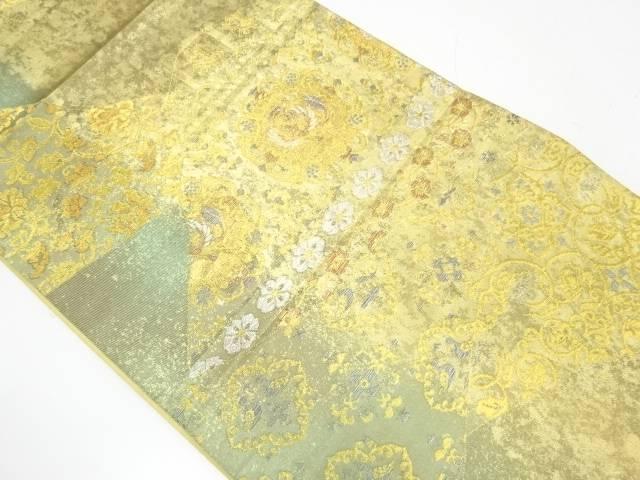 引箔切嵌風横段に花鳥模様織出し袋帯【リサイクル】【中古】【着】 宗sou
