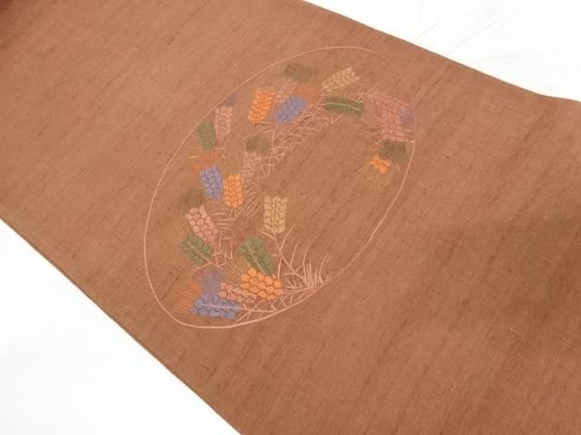 未使用品 手織り紬稲穂模様刺繍袋帯【リサイクル】【着】 宗sou