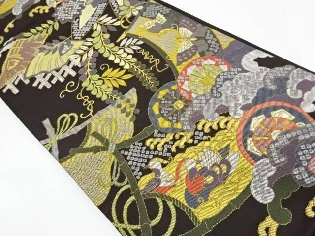 蝶に源氏車・花鳥模様織出し袋帯【リサイクル】【中古】【着】 宗sou